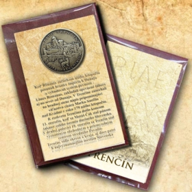 Medal with magnet - City of Trencin - Patinated
