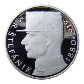 Platinum replica of 10 Czechoslovak crown M. R. Stefanik from year 1991 - R
