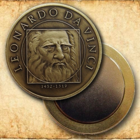 Medal with magnet - Leonardo da Vinci - Patinated