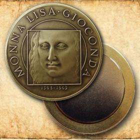 Medaila s magnetom - Mona Lisa - Patina