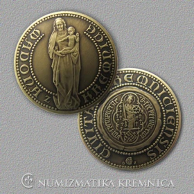 Medal Madonna from the Kremnica city - Patinated