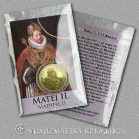 Small medal with card Matthias II. (The Habsburgs) - Shiny