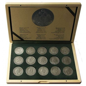 The Habsburgs - Set of coin replicas (silver miniatures of talers) - Patinated