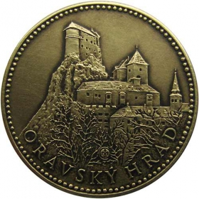 Medal with card - Orava castle - Patinated
