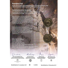 Commemorative deed - Caves of Slovak Karst (100 Euro)