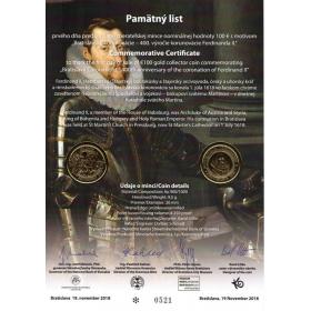 Commemorative deed - Coronation of Ferdinand II. (100 Euro)