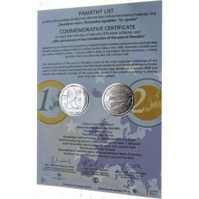 Pamätný list 10 Euro / 2019 - Zavedenie eura v SR - 10. výročie