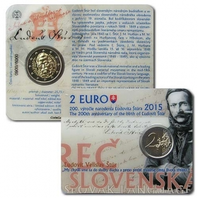 2 Euro Card / 2015 - Slovakia - The 200th anniversary of the birth of Ludovit Stur