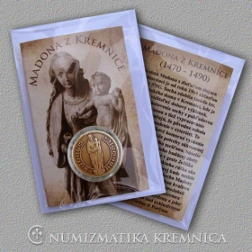 Medal Madonna from the Kremnica city with card - Patinated