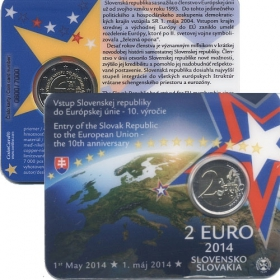 2 Euro Coincard / 2014 - Slovakia - Entry of the Slovak Republic to the European Union - the 10th anniversary