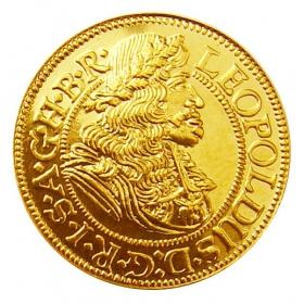 Zlatá replika mince Leopold I. (1-dukát) - Košický zlatý poklad