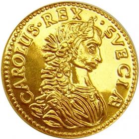 Zlatá replika mince Karol XI. (1-dukát) - Košický zlatý poklad