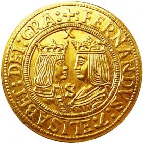 Zlatá replika mince Ferdinand a Izabela (2-dukát) - Košický zlatý poklad