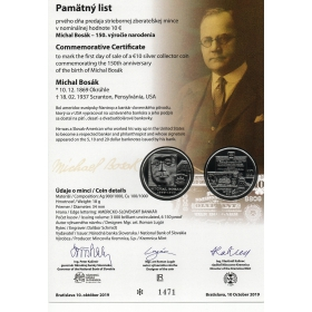 Commemorative deed - Michael Bosák