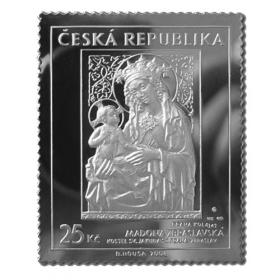 Silver plaque of post stamp - Madonna of Zbraslav