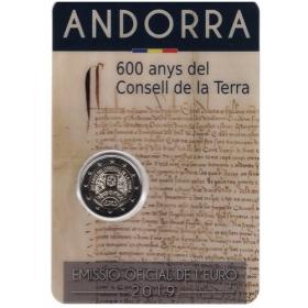 """2 Euro / 2019 - Andorra - 600. rokov parlamentu """"Consell de la Terrra"""""""