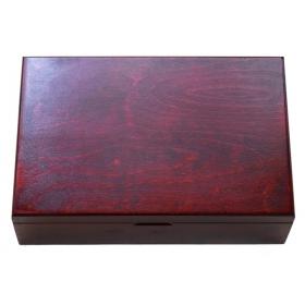Drevený kufrík na uloženie plát na zberateľské mince