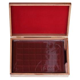 Drevený kufrík na uloženie plát na zberateľské mince - Orech