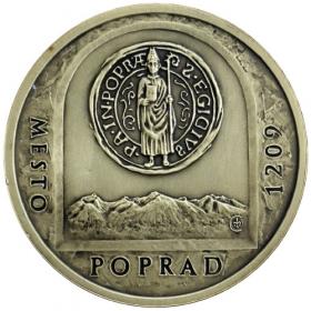 Mosadzná medaila Poprad - patina
