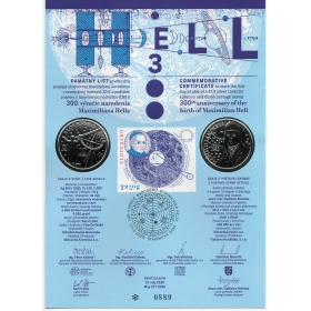 Pamätný list Maximilián Hell + 10 Eur 2020 Maximilián Hell Proof