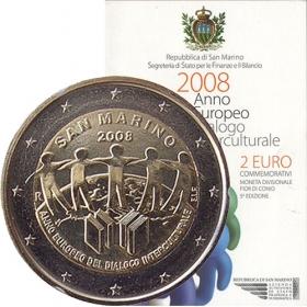 2 Euro San Maríno 2008 - Európsky rok medzikultúrneho dialógu