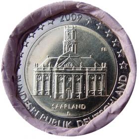 "2 Euro Nemecko ""D"" 2009 - Sársko: Kostol Ludwigskirche"