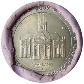 """2 Euro Nemecko """"J"""" 2009 - Sársko: Kostol Ludwigskirche"""