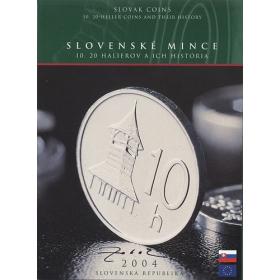 Sada 2004 - Slovenské mince - 10 a 20 halierov a ich história - s podpisom autora