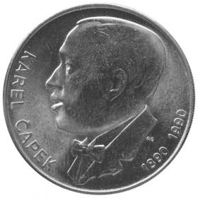 100 Kčs 1990 - 100. výročie narodenia Karla Čapka - Bežná kvalita