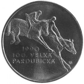 100 Kcs / 1990 - 100th anniversary of the Great Pardubice Horse Race - Standard quality
