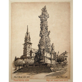 Copper-plate engraving V - The Plague column of Kremnica city