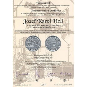 Commemorative deed - Jozef Karol Hell