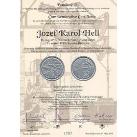 Pamätný list - Jozef Karol Hell