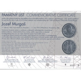 Commemorative deed - Jozef Murgas